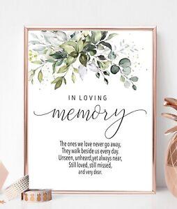 In Loving Memory Wedding Eucalyptus sign 8x10