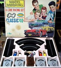 "AURORA MoDEL MoToRING VIBRATOR #1505 GOOD ""CLASSIC 40"" HO SLOT TRACK SET 4 Cars"