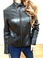 VS2 Victoria Secret  Black Soft Genuine Leather Jacket Size Small