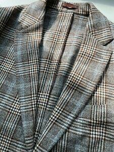 Etro 100% Cashmere Jacket 44L Brown Blue Plaid Blazer Sportcoat