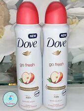 2 X Dove Spray Go Fresh APPLE & WHITE TEA 48H Antiperspirant Deodorant 150 ML