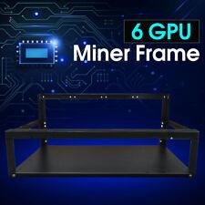 6 GPU OPEN AIR MINING MINER FRAME RIG CASE NERO VENTOLA ETHEREUM #