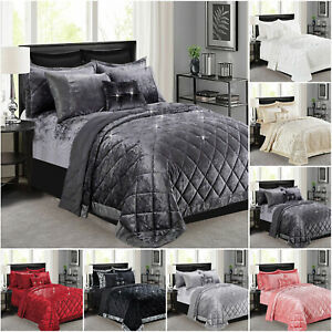 3 Piece Crushed Velvet Bedspread Bed Throw Diamante Bedding Set Double King Size
