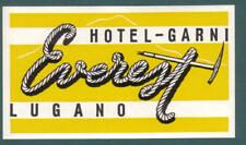 LUGANO SWITZERLAND HOTEL GARNI EVEREST LUGGAGE LABEL