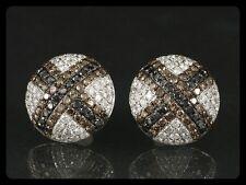 Funkelnde Ohrstecker Brillanten in Schwarz/Weiß/Braun 2,46ct (Gravur)   750/- WG
