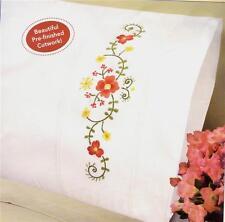 DUBONNET Embroidery Floral Flower PILLOWCASE SET / PAIR ~ Standard Size  NEW