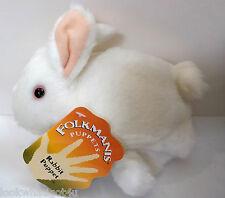 Folkmanis White Rabbit puppet pink Eyes NWTS