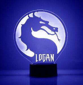 Mortal Kombat Logo LED Night Light, with Remote Control, Engraved Light Up