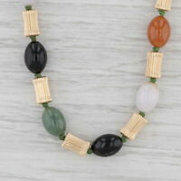 "Jadeite Jade Black Bead Statement Necklace 14k Yellow Gold 23"" Long Layer Strand"