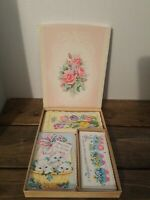 Vintage Greeting Card 1950s Lustre Lovelies11 Card Assortment w/Envelopes & Box