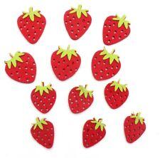 12 x Filz Erdbeere,4 Größen Mix, Scrapbooking, basteln,Streudeko,Filzapplikation