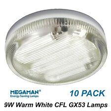 10 x 9W GX53 Compact Fluorescent Lamps Globes Bulbs 2700K Warm White CFL
