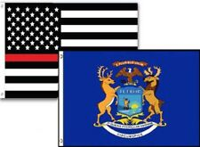 3x5 Usa Thin Red Line Michigan State 2 Pack Flag Wholesale Set Combo 3'x5'