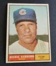 ORIGINAL1961 TOPPS CHICAGO CUBS BASEBALL CARD #88 RICHIE ASHBURN EXCELLENT