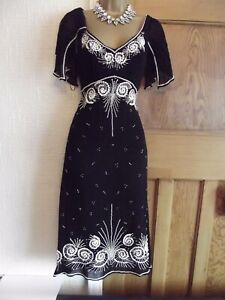 WALLIS Vintage ❤️ 1920's Art Deco Beaded Flapper Gatsby Downton Wedding Dress 14