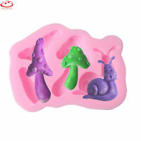 3D DIY Snail Mushroom Silicone Mold Fondant Cake Decorating Candy Chocolate Mold