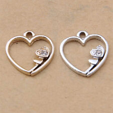 Silver/ Charm Crystal Heart Pendant Beads Accessories DIY Jewelry Making V1120