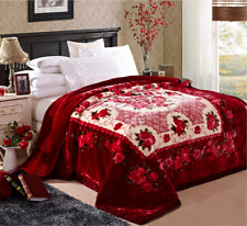 Faux Mink,Ultra- Plush, Raschel Blanket/Queen Size/Guylanta/ Red