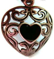 Black Onyx Heart Pendant Charm Necklace Heavy Patina Vintage Sterling Silver 925