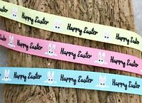 """3/8"""" Happy Easter Ribbon - Easter Bunny Gift Wrap - Easter Crafts - Cute Rabbits"""