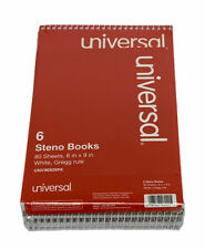 6pack Universal Steno Books Gregg Rule 6 X 9 White 80 Sheets Unv96920pk