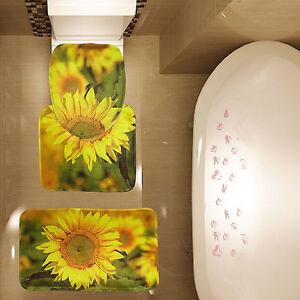 Sunflowers Pattern 3 Piece Bathroom Carpet Pedestal Lid Mat Toilet Rug Set New