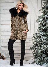 Venus faux fur leopard coat - jacket - size 6 -  NWT - removeable fur collar