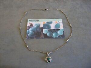 Edelsteinkette - Alte feine 925er Silberkette mit Aventurin-Anhänger