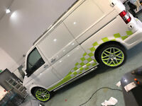 VW Transporter/  T4 T5 T6  Campervan racing flag stripes side stickers day van