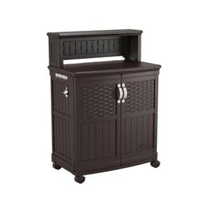 Patio Storage and Prep Station 48 Gal. Resin Weather Resistant in Java Finish