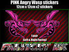 Pair of PINK Angry Wasp Stickers laptop helmet bike car scooter vespa hornet