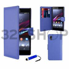 Fundas y carcasas color principal azul de piel para teléfonos móviles y PDAs Sony