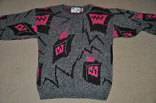 Vtg 70s 80s Neon Pink TELEVISION Fairy Kei acrylic Ugly Cute SWEATER Medium M