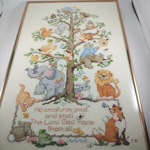 vtg HANDMADE Tree of Life Animal Nursery Wall Hanging Framed Cross Stitch 11x18