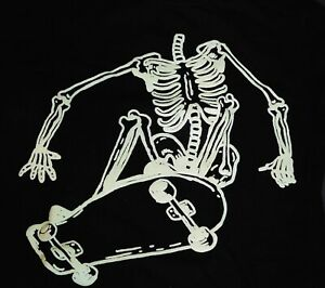 GYMBOREE Halloween Skateboard Skeleton Shirt 8 Black Glow in Dark Cotton Top