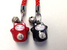 2 Japanese Maneki Neko fortune lucky FUKU kitty cat ceramic cell phone charms