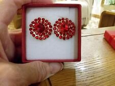 Brand new large clip-on earrings with red diamanté crystals + gift box