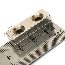 Strong Block Countersunk Magnet 30x10x5 mm 2 Hole 4mm Rare Earth Neodymium N35