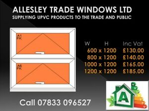 Upvc white window made to measure style 3 600 wide x 1200 high