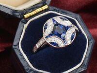 Antique Blue Round Diamond 14k White Gold Over Sapphire Art Deco Engagement Ring