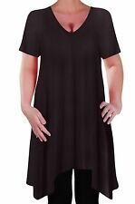 Olivia Womens Casual V Neck Long Tunic Uneven Hem Plus Size Ladies Flared Top