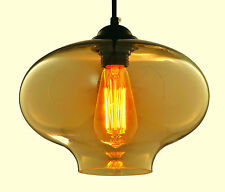 Modern Tea Rounded Industrial Retro Ceiling Glass Pendant Light Lamp Shade