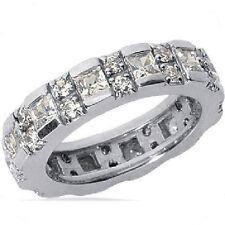 Band 14k White Gold Ring F Vs 2.42 carat Round & Princess Cut Diamond Eternity