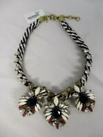 SIGNED J CREW RUNWAY STATEMENT RED WHITE BLUE WOVEN CORD NECKLACE w CRYSTALS NWT