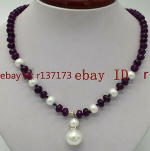 5x8mm Multicolor Rondelle Gemstone & 8-12mm White South Sea Shell Pearl Necklace