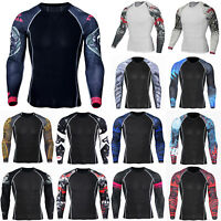 Men Thermal Compression Armour Base Layer Long Sleeve Top Sport Fitness Gym Wear