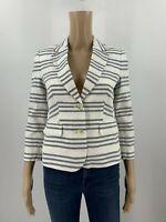 Banana Republic Womens Shrunken Blazer Suit Jacket Size 0P Blue Stripe Linen J2