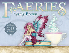 Amy Brown Faeries 2018 Wall Calendar Fairy Faery Fantasy Art Mermaid Dragon NEW