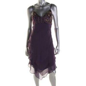 Sue Wong ~ Purple Tiered Chiffon Gold Embellished Shift Party Dress 6 NEW