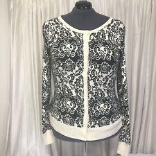 Old Navy Cardigan Sweater Ivory Black Jacquard Print Button Light Knit Size XXL
